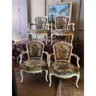 Suite De Fauteuils Louis XV d'époque XVIIIeme