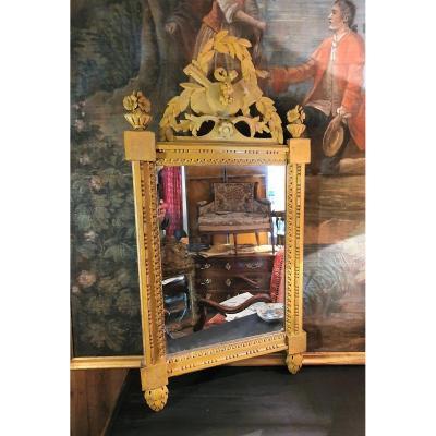 Miroir Louis XVI  d'époque XVIIIème En Bois Peint