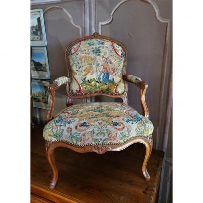 18th Century Louis XV Armchair With Flat Back