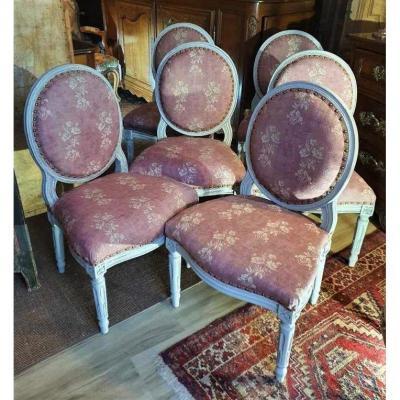 Suite De Six Chaises d'époque Louis XVI   18ème En Bois Peint