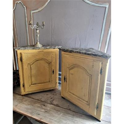 Pair Of Painted Wooden Corner Cabinets From The 18th Century