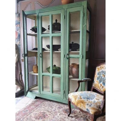 Wire Mesh Cabinet Or Manger Middle Twentieth In Painted Wood