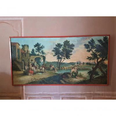 Dessus De Porte Ou Peinture De Boiserie  d'époque  XIXème