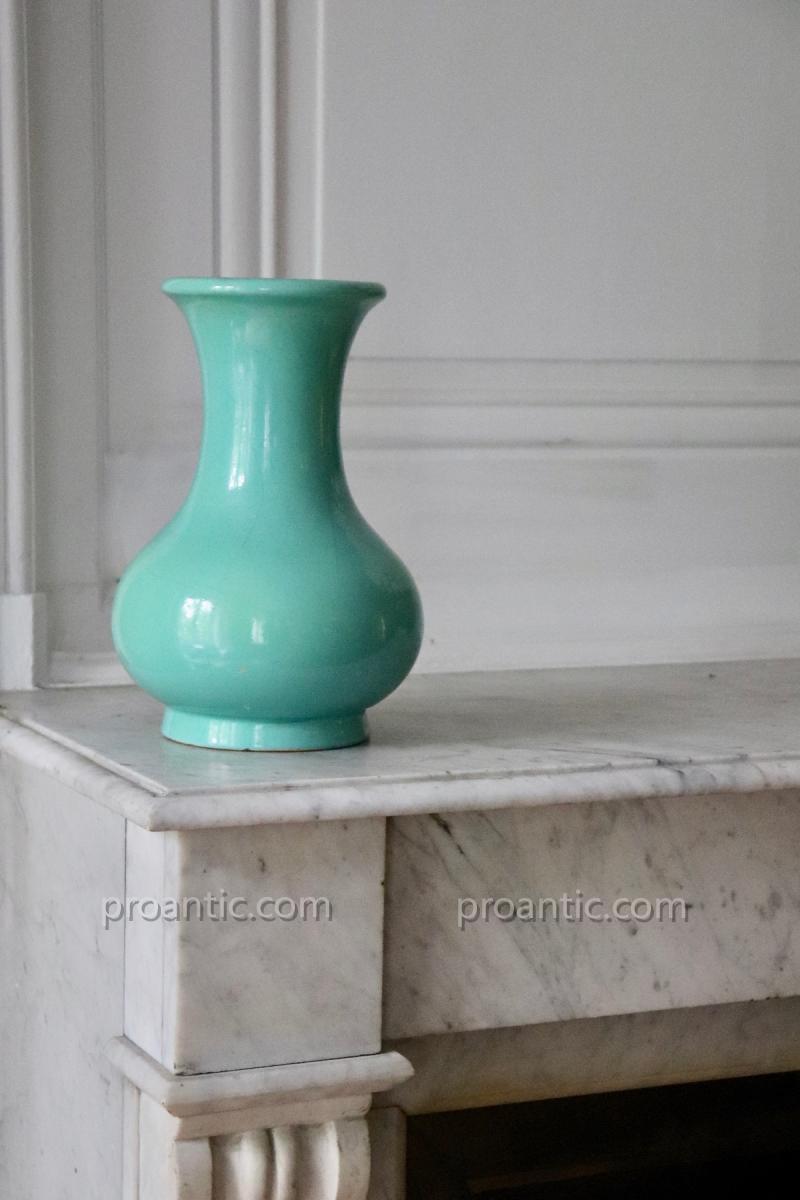 Lachenal. Vase céramique craquelée Céladon Vert. 26cm