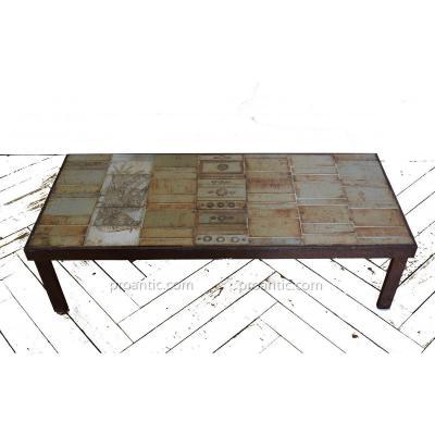 """Table Basse Rectangulaire  Modèle """" Oiseau"""" De  Roger Capron ."""