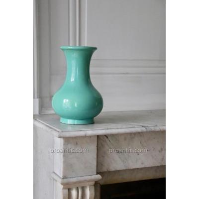 Lachenal. Celadon Cracked Ceramic Vase Green. 26cm