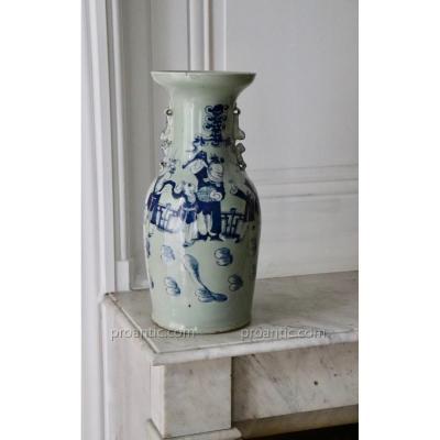 China. Canton. Celadon Porcelain Vase. H 44 Cm.