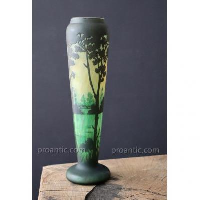 Glass Vase Muller Brothers Luneville. Landscape. H 30cm