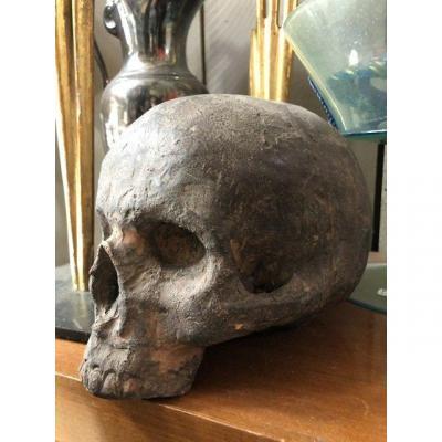 Vanité.  (crâne,tête De Mort). Vanité sculptée en terre cuite,travail original de la fin du XIX