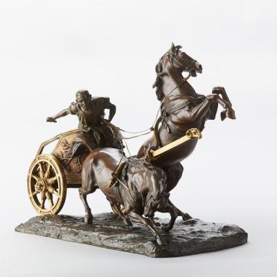 Group In Bronze Chariot With Horses