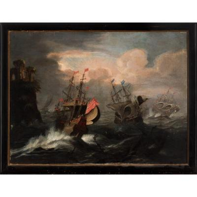 Mer Orageuse Par Le Peintre Matthieu Van Plattemberg
