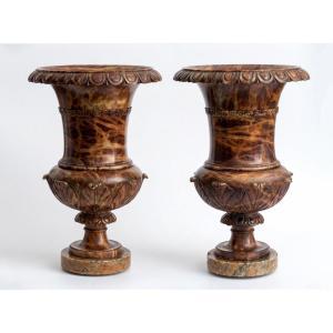 A Pair Of Alabaster Vases