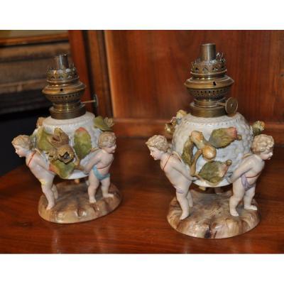 Paire De Lampes En Porcelaine