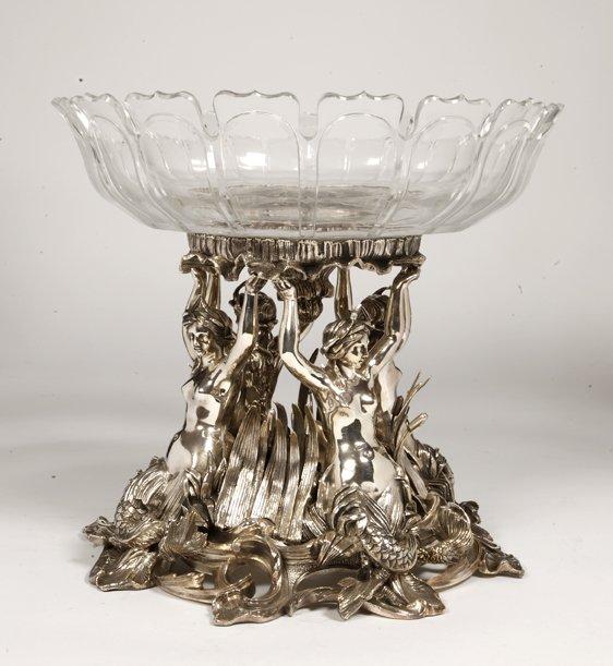 Centre De Table Bronze Argenté Aux Naïades Et Cristal Taille Baccarat