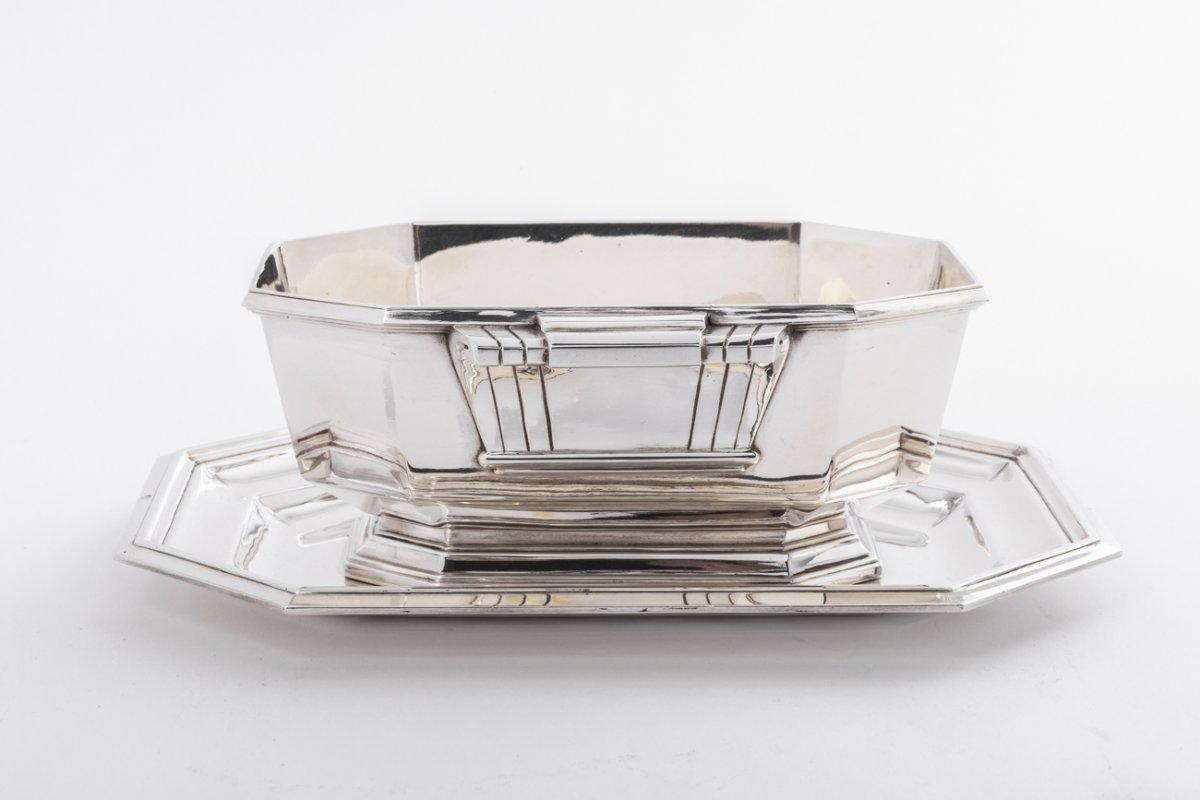 Orfèvre  Lapparra -  Saucière En Argent Massif époque Art Deco Vers 1930