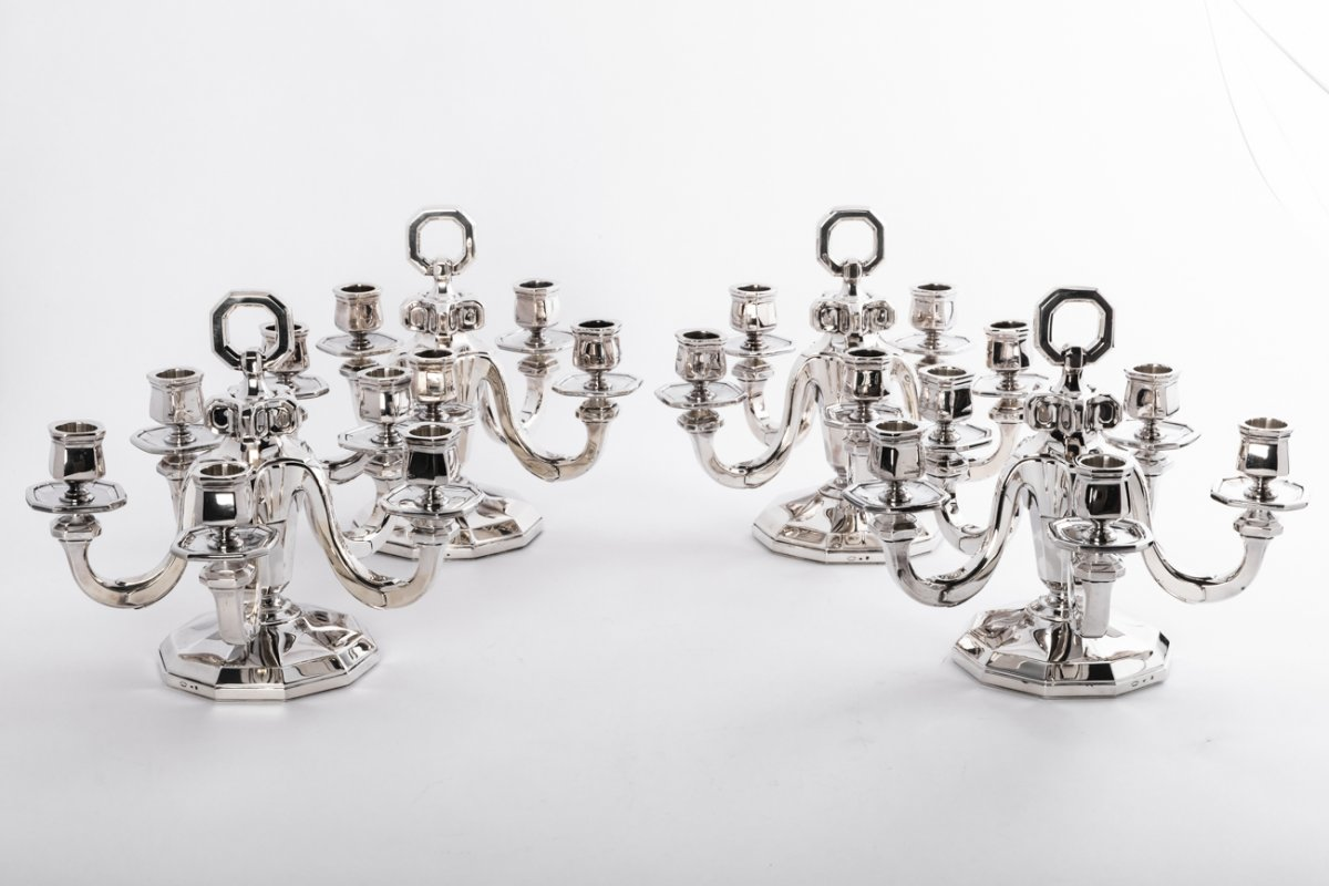 Goldsmith Gustave Keller - Suite Of 4 Candelabra In Sterling Silver Art Deco Period