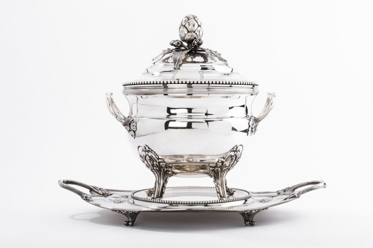 Goldsmith A. Aucoc  - Important Soup Tureen And Its Platter In Sterling Silver Nineteenth