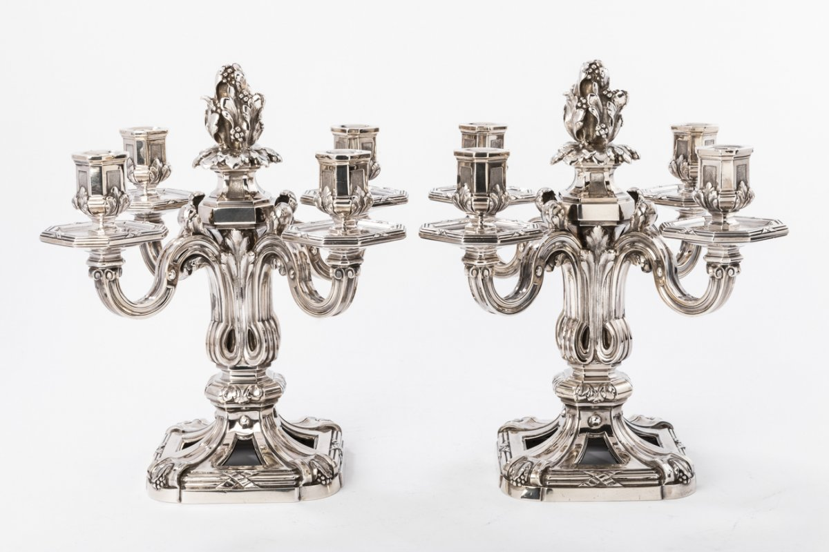 Goldsmith Ed. Tetard - Important Pair Of Candelabra In Sterling Silver XIXth Century