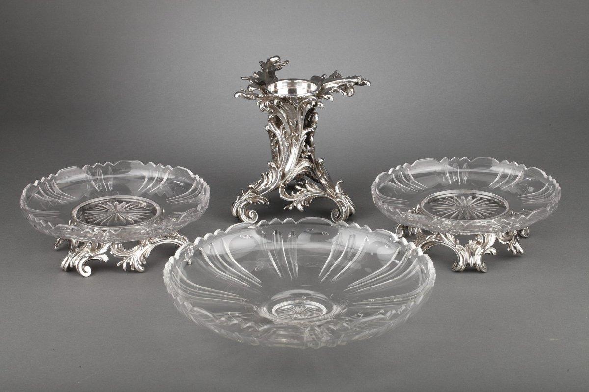 Orfèvre Cardeilhac - Garniture De Table 3 Coupes En Argent Massif Et Cristal XIXè-photo-3