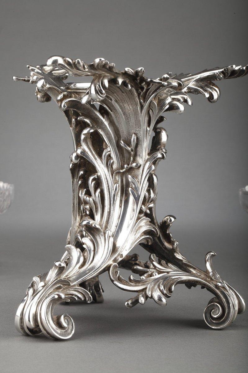 Orfèvre Cardeilhac - Garniture De Table 3 Coupes En Argent Massif Et Cristal XIXè-photo-2