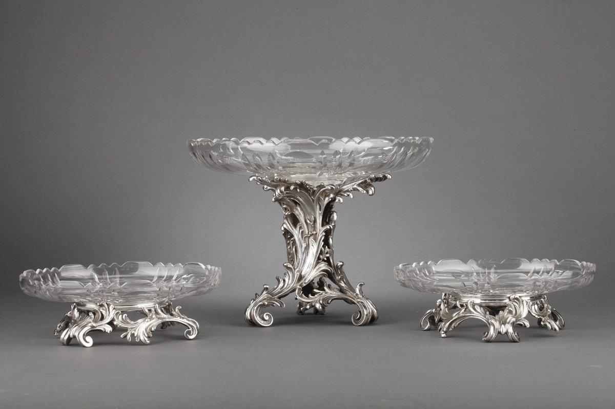 Orfèvre Cardeilhac - Garniture De Table 3 Coupes En Argent Massif Et Cristal XIXè-photo-4