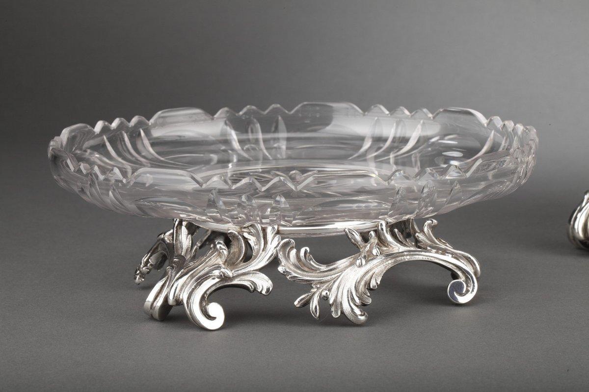 Orfèvre Cardeilhac - Garniture De Table 3 Coupes En Argent Massif Et Cristal XIXè-photo-5