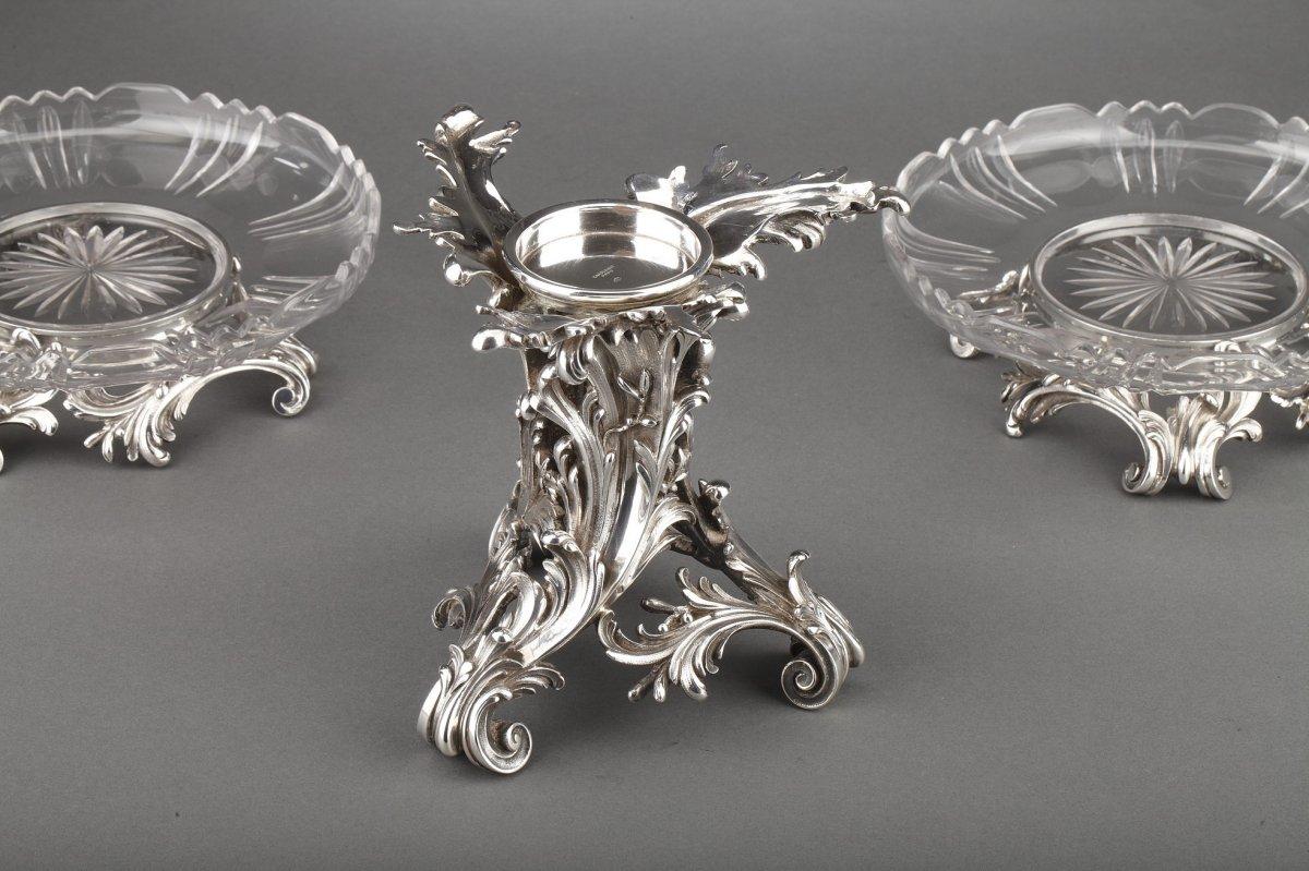 Orfèvre Cardeilhac - Garniture De Table 3 Coupes En Argent Massif Et Cristal XIXè-photo-6