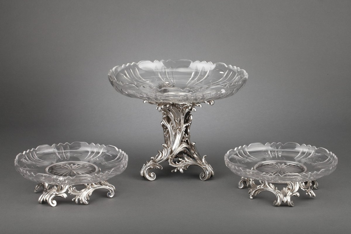 Orfèvre Cardeilhac - Garniture De Table 3 Coupes En Argent Massif Et Cristal XIXè