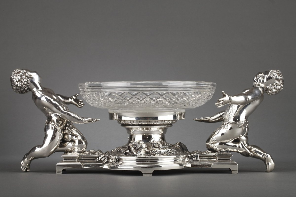 Goldsmith Christofle - Table Centerpiece In Silver Bronze And XIXth Crystal Cup