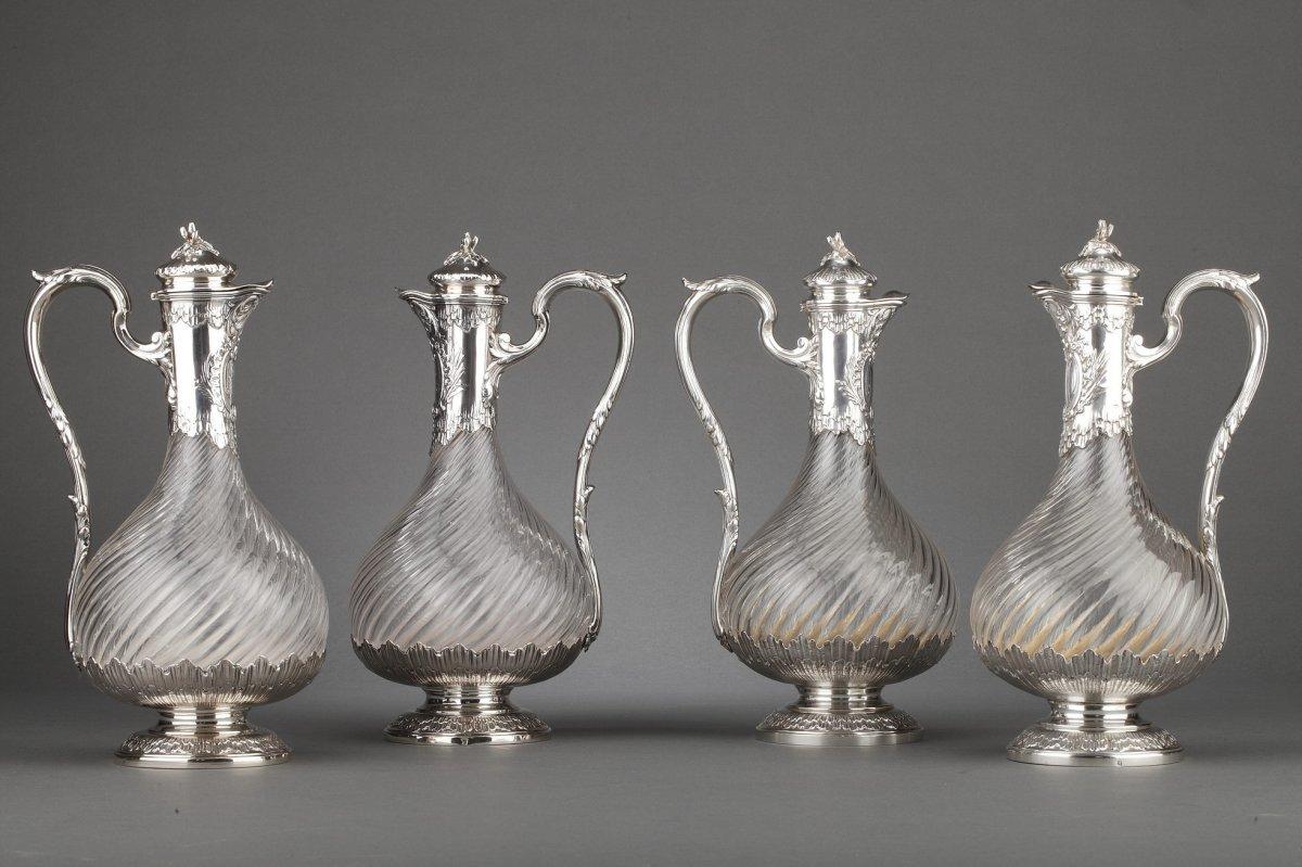 Goldsmith Boin Taburet - Suite Of Four Crystal Ewers XIXth Silver Frame
