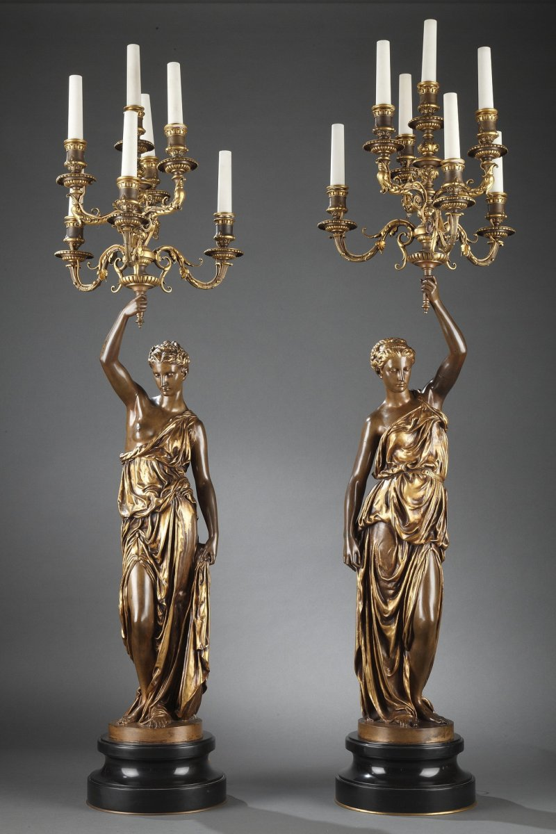 Barbedienne - Pair Of XIXth Bronze Torchieres By Dubois & Falguiere