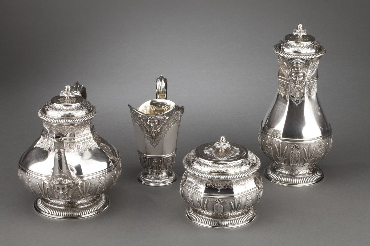 Orfèvre Cardeilhac - Tea / Coffee Service 4 Pieces In 19th Century Sterling Silver