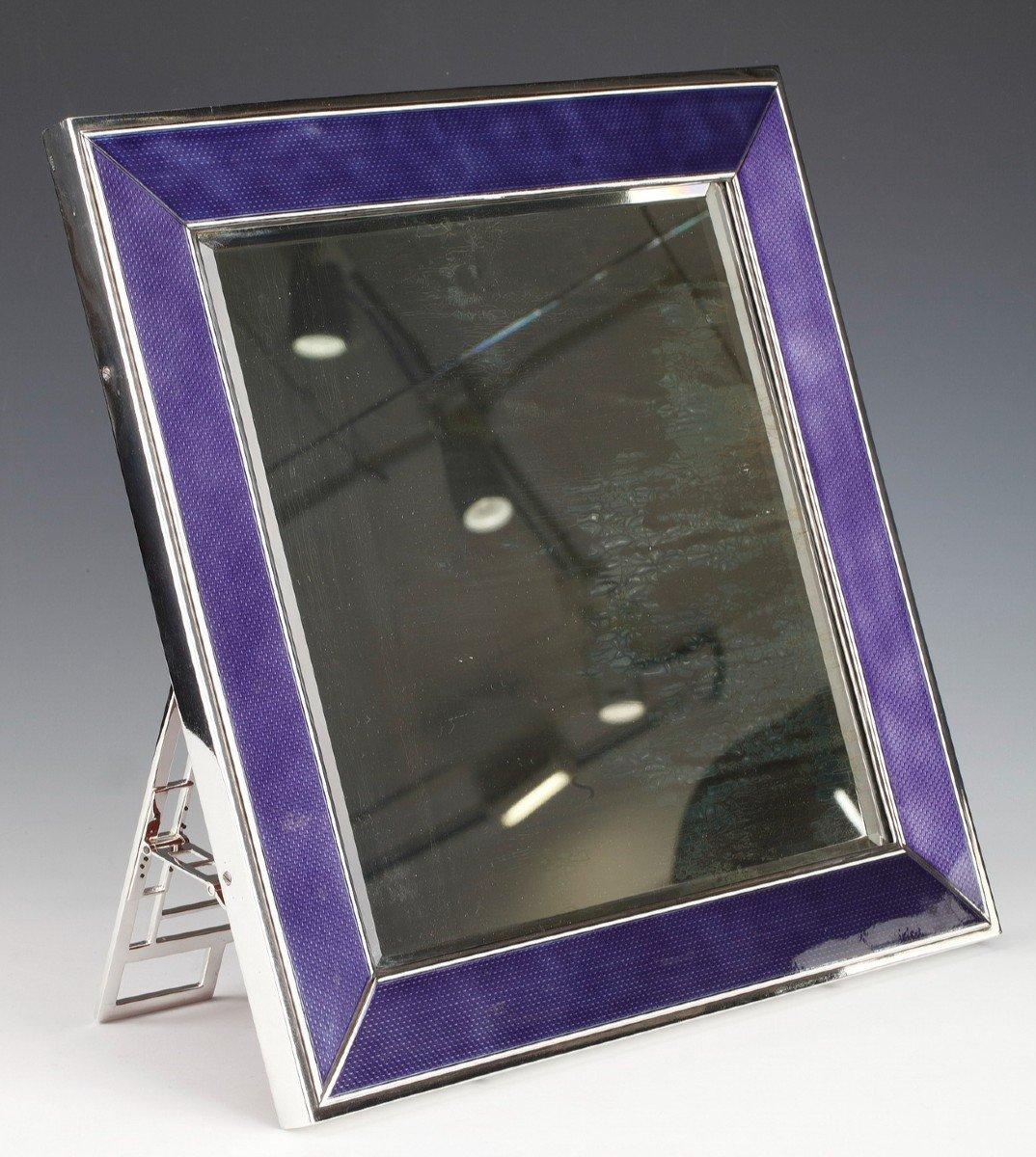 Miroir De Table En Argent Massif Et Email Bleu XXe