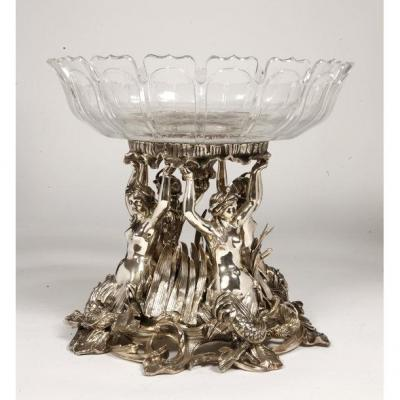Silver Bronze Centerpiece With Naiads And Baccarat Cut Crystal