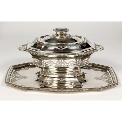 Centerpiece On His Tray Silver, Early Twentieth By The Goldsmith Roussel
