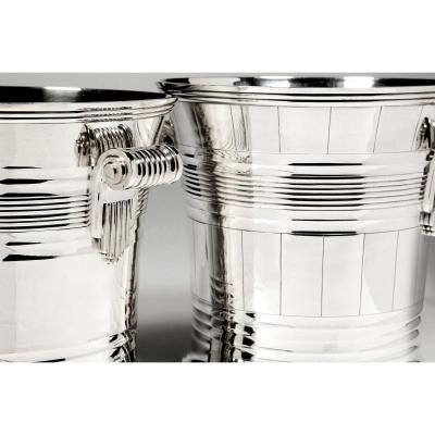 Goldsmith Boin Taburet - Pair Of Coolers In Sterling Silver Art Deco Period
