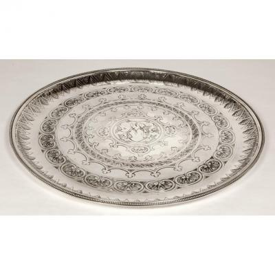 Orfèvre Cartier A Paris - Round Tray 50 Cm In Sterling Silver Early Twentieth