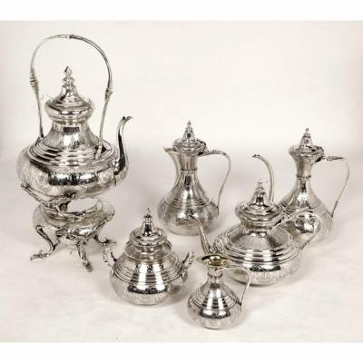 Goldsmith Duponchel - Coffee Tea Service In Sterling Silver Ottoman Style Nineteenth