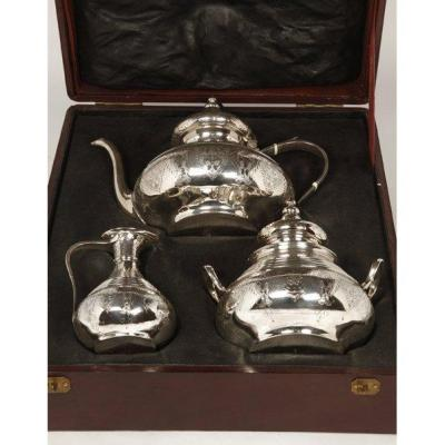Goldsmith E. Roger - Tea Set In Sterling Silver In Its Box