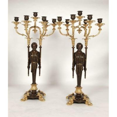 Pair Of Candelabra In Patinated And Gilt Bronze, Napoleon III Period