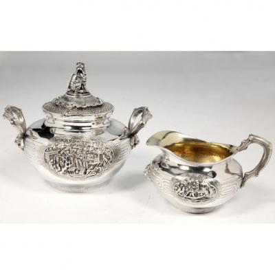 Orfèvre Duponchel - Creamer And Sugar Bowl In Sterling Silver Nineteenth