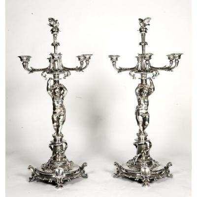Goldsmith Christofle - Pair Of Candelabra In Silver Bronze XIXth