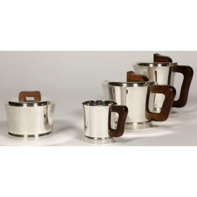 Goldsmith Jean E. Puiforcat - Coffee Tea Service In Sterling Silver Period 1930