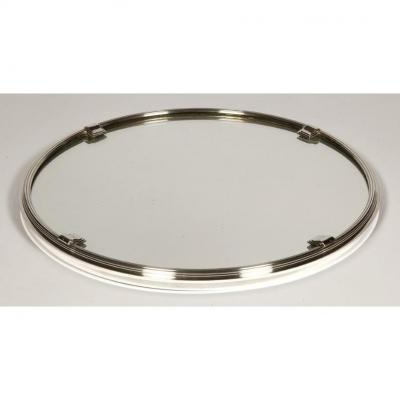 Silversmith Cardeilhac - Round Tray In Sterling Silver With Art Deco Mirror Bottom