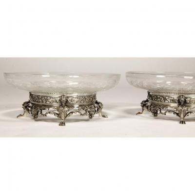 Goldsmith Cardeilhac - Pair Of Crystal And Sterling Silver Cups Nineteenth