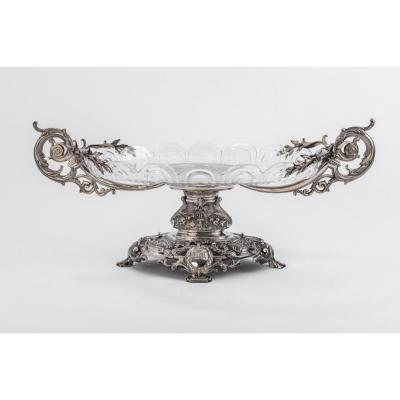 Orfèvre Ferry - Table Center In Sterling Silver Cut Crystal  Nineteenth