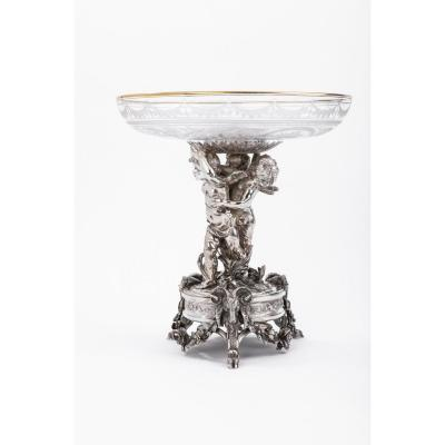 Silversmith Cardeilhac - Table Center In Sterling Silver Crystal Cup Engraved Nineteenth