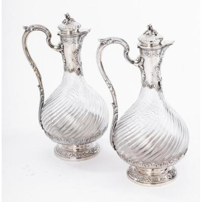 Goldsmith Boin Taburet - Pair Of Ewers In Cut Crystal And Sterling Silver XIXth