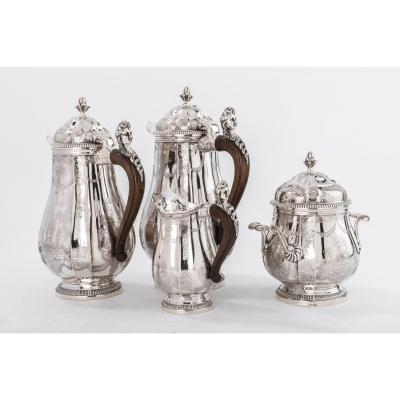 Goldsmith Paul Canaux - Coffee / Chocolate Service 4 Pieces In Sterling Silver XIXth
