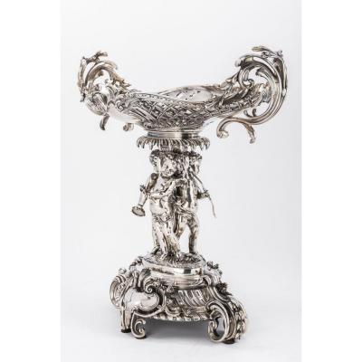 Goldsmith A. Fresnais - Table Center In Silver Bronze Middle Of The XIXth Century